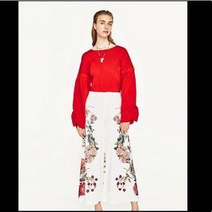 Zara Woman Floral Printed Wide Leg Pant